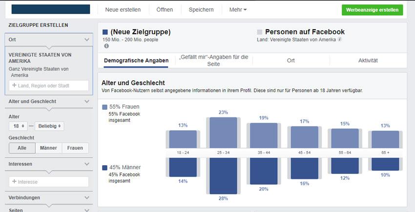 Zielgruppenanalyse über facebook-insights