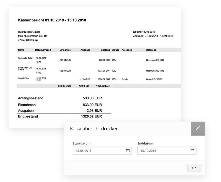 kassenbericht erstellen als pdf