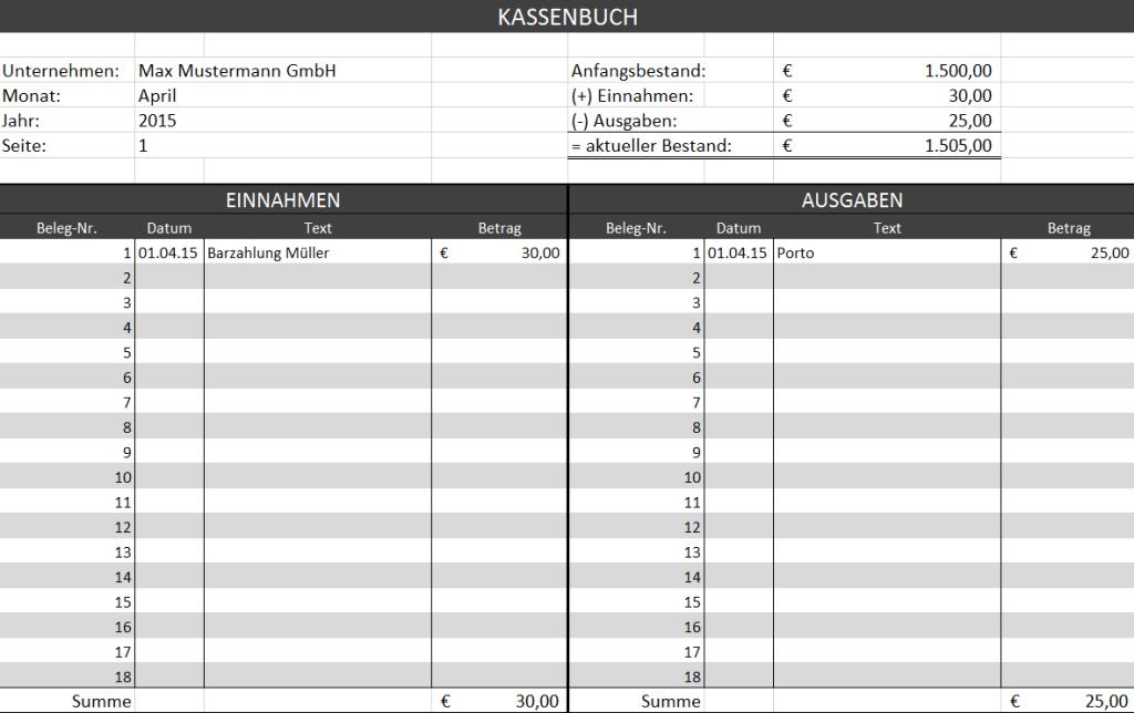 Kostenlose Kassenbuch Vorlage Excel