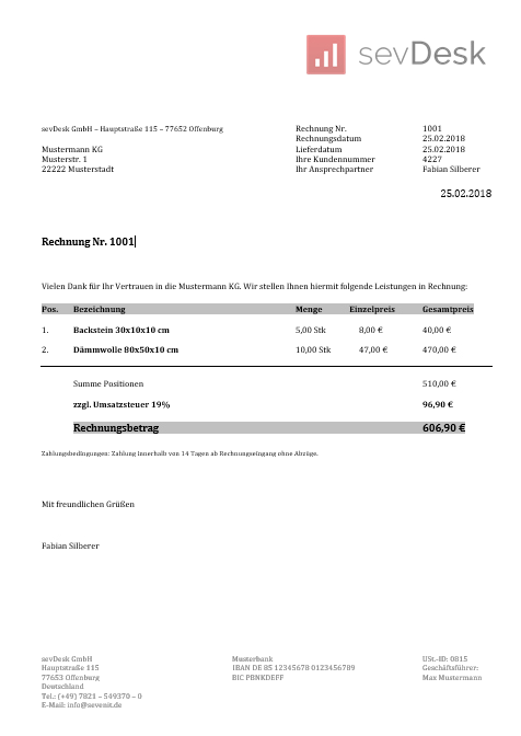 Rechnungsvorlage Kostenlos Word Excel Pdf Sevdesk