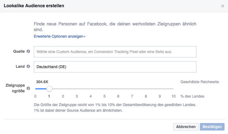 erstelle eine facebook lookalike audience