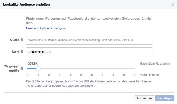 erstelle eine facebook lookalike audience
