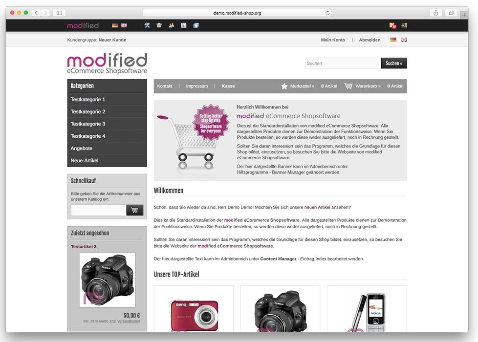 Online-Shop mit modified erstellen