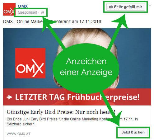 werbung anzeichen im omx fb post