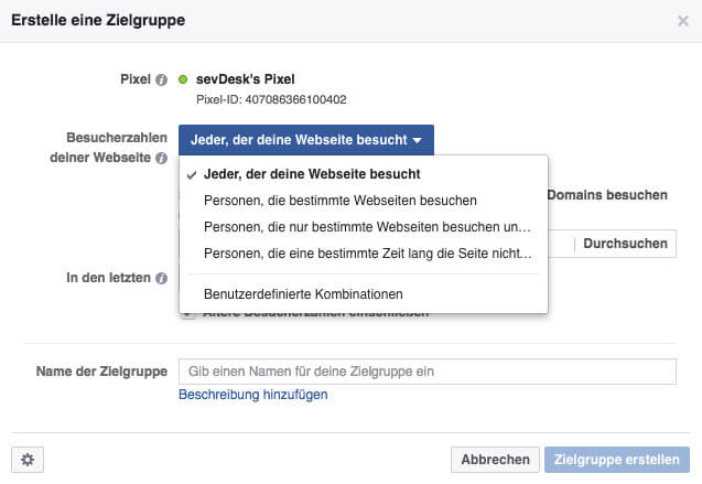 festlegung einer custom audience fuer facebook pixel