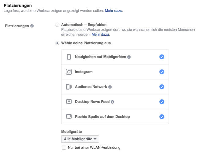 Platzierung der Facebook Werbung festlegen
