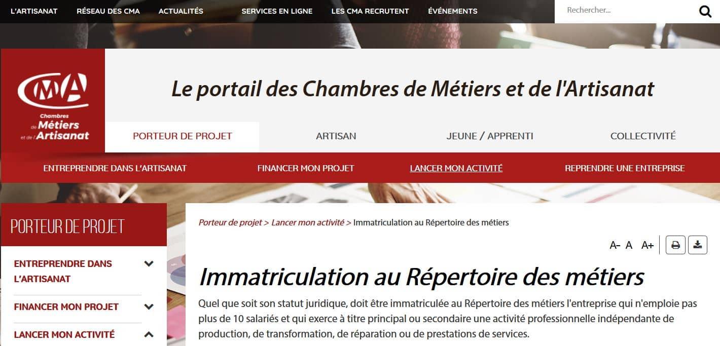 Immatriculation au r pertoire des m tiers tapes suivre - Immatriculation chambre des metiers ...