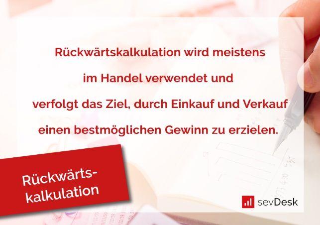 Definition Rückwärtskalkulation